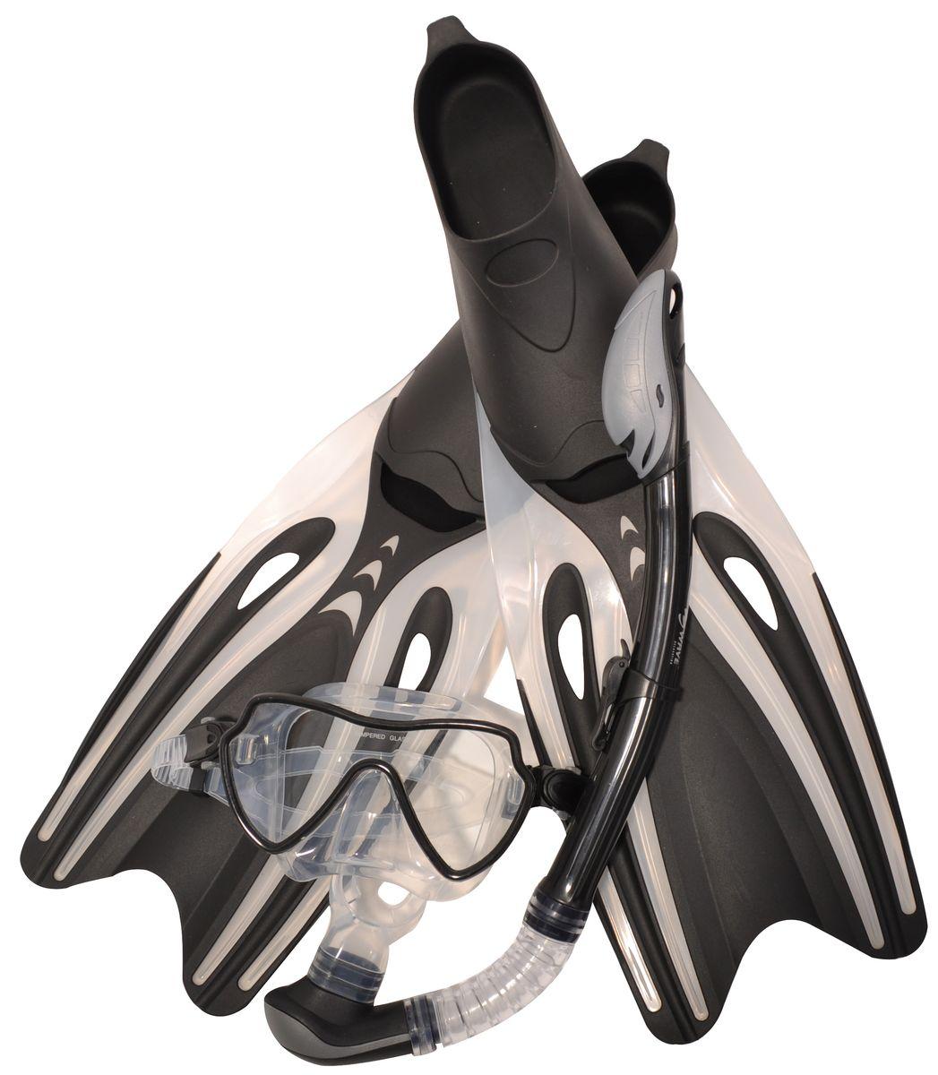 Комплект для плавания WAVE: маска, трубка, ласты, цвет: черый,серый. Размер 39-41. MSF-1390S65F69 очки маски и трубки для плавания intex маска авиатор для плавания 55911