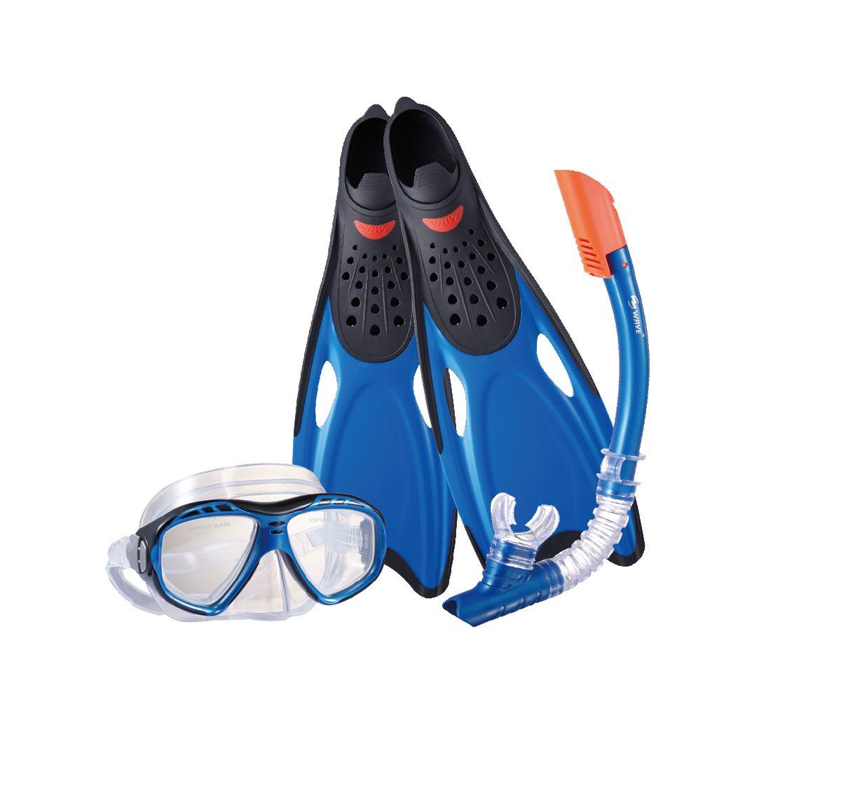 Комплект для плавания WAVE: маска, трубка, ласты, цвет: синий. Размер 40-41. MSF-1396S25BF71 очки маски и трубки для плавания intex маска авиатор для плавания 55911