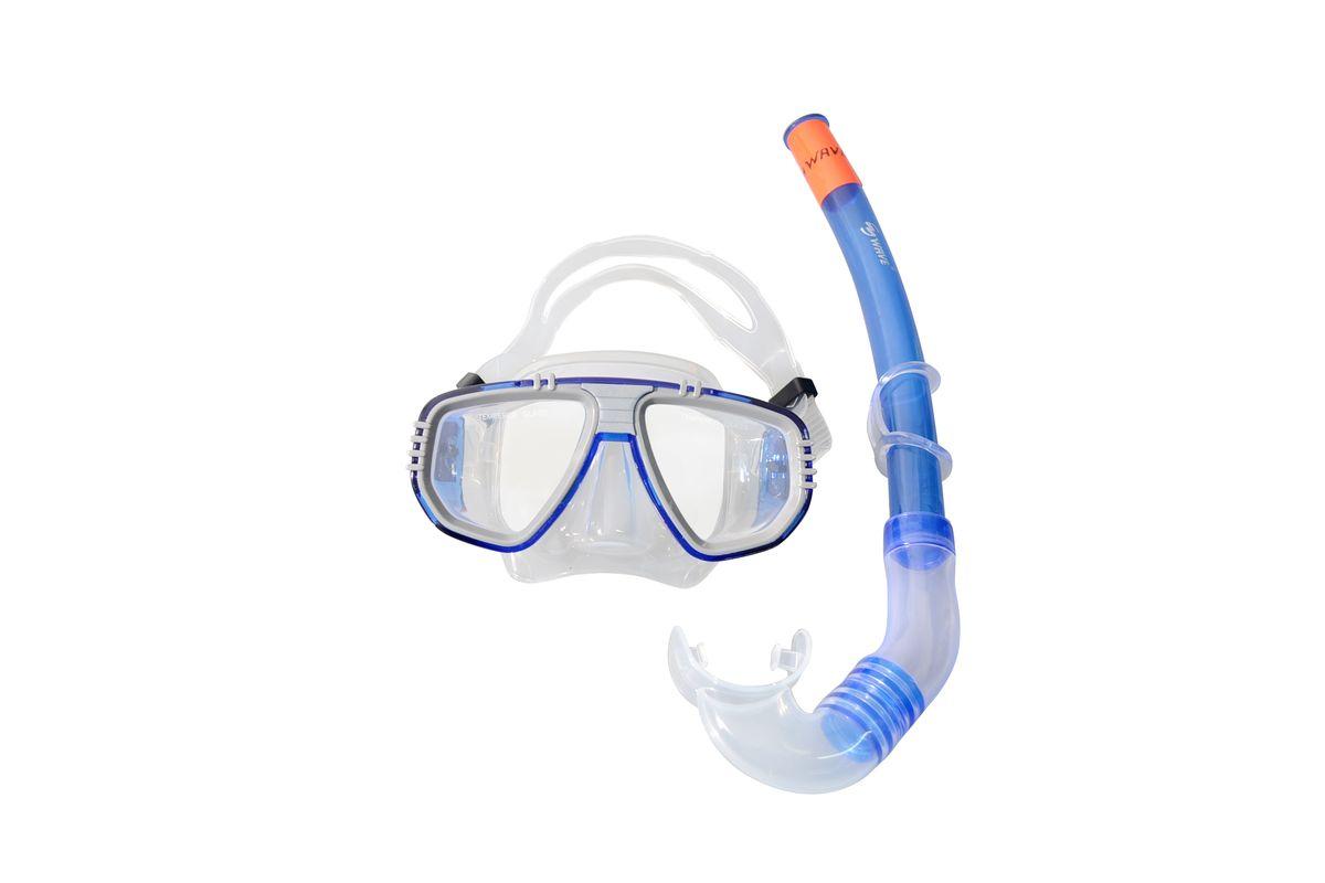 Комплект для плавания WAVE: маска, трубка, цвет: серый, синий. MS-1313S5 очки маски и трубки для плавания intex маска авиатор для плавания 55911