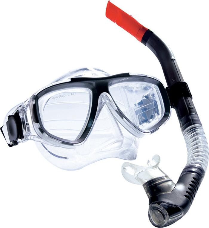 Комплект для плавания WAVE: маска, трубка, цвет: черный. MS-1359S40 очки маски и трубки для плавания intex маска авиатор для плавания 55911