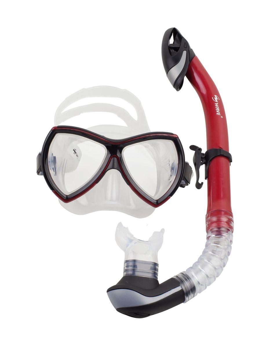 Комплект для плавания WAVE: маска, трубка, цвет: черный, красный . MS-1380S57 очки маски и трубки для плавания intex маска авиатор для плавания 55911