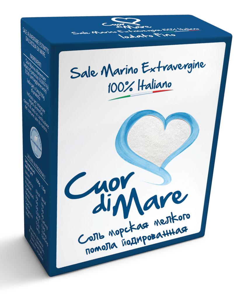 где купить  Cuor di Mare cоль морская пищевая йодированная мелкого помола, 500 г  по лучшей цене