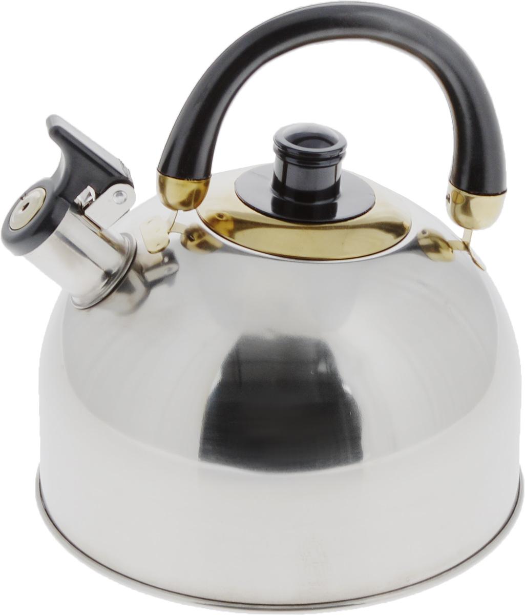 Чайник Mayer & Boch, со свистком, цвет: стальной, золотистый, черный, 4 л. 10461046chЧайник Mayer & Boch выполнен из высококачественнойнержавеющей стали, что делаетего весьма гигиеничным и устойчивым к износу при длительномиспользовании.Капсулированное дно с прослойкой из алюминия обеспечиваетнаилучшее распределение тепла.Носик чайника оснащен насадкой-свистком, что позволит вамконтролировать процесс подогреваили кипячения воды. Подвижная ручка, изготовленная избакелита, делаетиспользование чайника очень удобным и безопасным.Поверхность гладкая, чтооблегчает уход за ним. Эстетичный и функциональный, с эксклюзивным дизайном,чайник будет оригинальносмотретьсяв любом интерьере.Подходит для газовых, электрических, стеклокерамических и галогеновых плит. Не подходит для индукционных плит. Можно мыть в посудомоечной машине.Высота чайника (без учета ручки и крышки): 13 см.Высота чайника (с учетом ручки и крышки): 21,5 см.Диаметр чайника (по верхнему краю): 8,5 см.