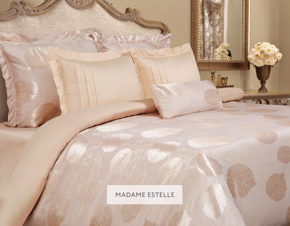 Комплект белья Mona Liza Madam Estelle, 2-спальное, наволочки 50х70 и 70x705538/20Комплект постельного белья Mona Liza Madam Estelle выполнен из комбинации сатина и натуральной вискозы. Данный состав придает ткани шелковистость, прочность и гидроскопичность, по своим качествам, в том числе визуальным, не уступает шелку. Комплект состоит из пододеяльника, простыни и четырех наволочек. Изделия оформлены благородным орнаментом. Пододеяльник на пуговицах.Элегантный стиль, несравненное качество, изысканный рельефный рисунок и приятные оттенки придают постельному белью богатый и утонченный вид.