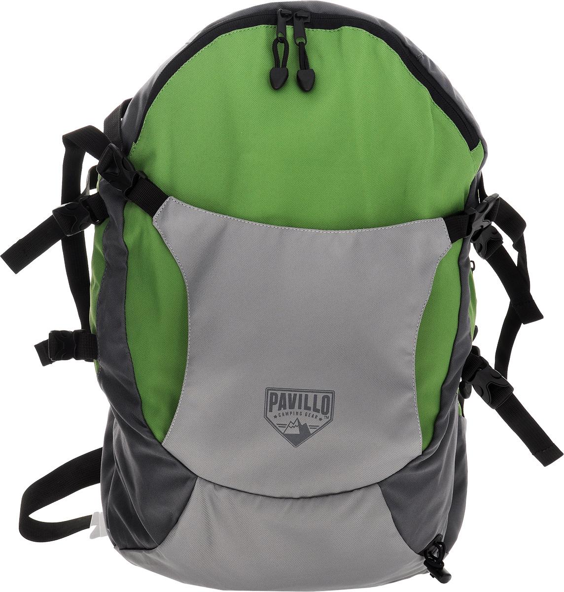 Bestway Рюкзак городской Big Canyon, цвет: серый, зеленый, 30 л. 6801768017_зеленыйСтильный городской рюкзак Bestway Big Canyon выполнен из полиэстера. Изделие имеет два основных отделения, которые закрываются на застежки-молнии и дополнительно на ремешки с застежками-фастекс.Внутри одного из отделений расположен мягкий карман для ноутбука, закрывающийся на хлястик с липучкой. Снаружи, на передней стенке расположены отделение для шлема, фиксирующееся на застежки-фастекс и нашивной карман на застежке-молнии, внутри которого шесть накладных кармашков и два держателя для авторучек. На задней стенке предусмотрен прорезной карман на застежке-молнии.Мягкая спинка с вставками из сетчатого материала комфортна при движении. Рюкзак оснащен широкими мягкими регулирующими лямками, удобной ручкой для переноски в руках и поясным регулирующим ремнем с застежкой-фастекс. Поясной ремень дополнен боковыми мягкими вставками. Лямки дополнены перемещаемым регулирующим нагрудным ремнем с застежкой-фастекс. Такой рюкзак станет незаменимым в повседневной жизни.