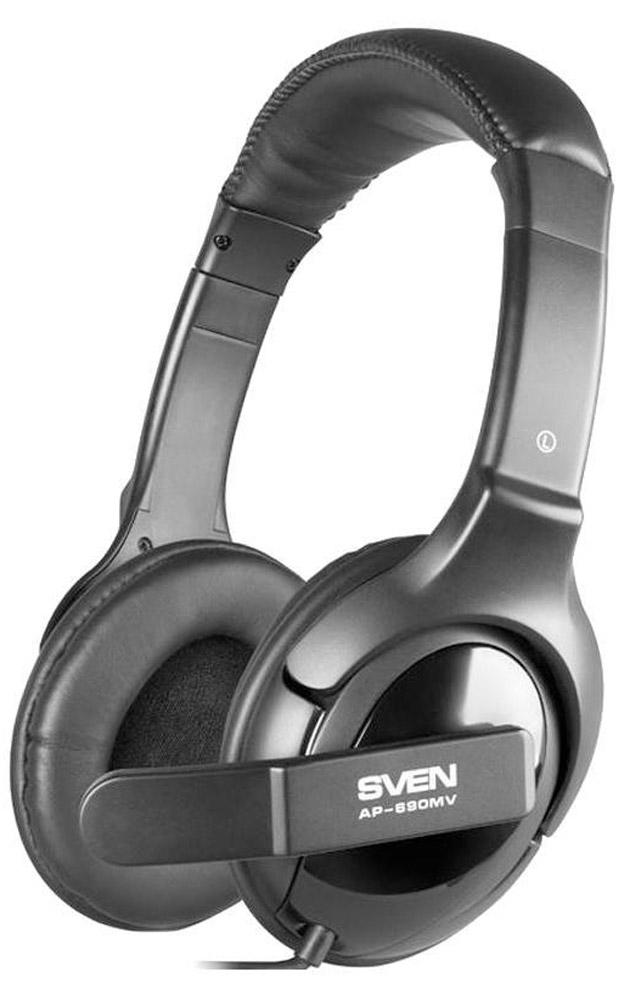 Sven AP-690MV наушники с микрофономSV-0410690MVСегодня многие владельцы наушников и гарнитур негласно пропагандируют идею: «уши» должно быть видно! Это связано и с преимуществом конструкции закрытых амбушюров, и эффектом шумоподавления, и со стильным дизайном, который ни в коем случае не стоит скрывать. Ориентируясь на данную тенденцию, компания Sven представила модель наушников с микрофоном Sven AP-690MV. Регулируемое оголовье устройства обеспечивает удобную посадку гарнитуры на голове. Поворотный держатель позволяет установить микрофон на оптимальном для пользователя расстоянии. Управление громкостью в модели Sven AP-690MV осуществляется с помощью регулятора на кабеле.В устройстве выполнена система пассивного шумоподавления (Sven PNC). Это значит, что внешние звуки просто отсекаются и не оттеняют воспроизводимый аудиоконтент. Будь то музыка, фильм, разговор по мессенджеру или видеоконференция – звучание всегда будет очень чистым и детальным.Дизайн моделей выполнен в урбанистическом стиле и, несомненно, приглянется молодому поколению. За счет своей формы, материалов исполнения и веса устройство почти не ощущаются на голове даже после нескольких часов работы. Sven AP-690MV – под стать профессиональным геймерским гарнитурам. За счет мягких амбушюров создается впечатление, что слева и справа к ушам приложили по подушке. Осталось закрыть глаза и расслабиться.