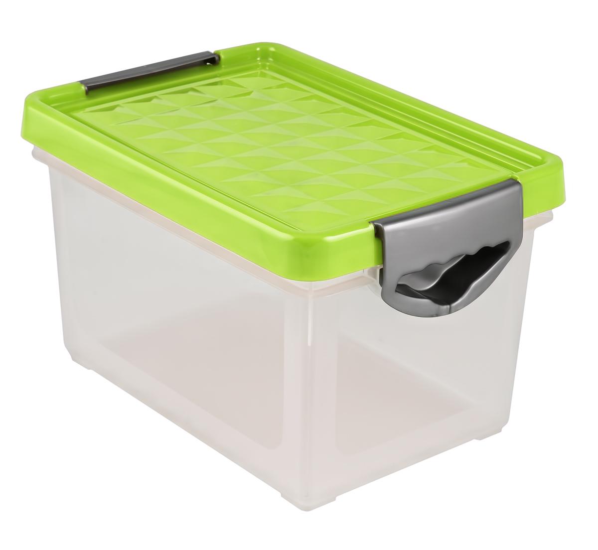 Ящик для хранения BranQ Systema, цвет: зеленый, прозрачный, 5,1 лBQ1001ЗЛПРУниверсальный ящик для хранения BranQ Systema, выполненный из прочного пластика, поможет правильно организовать пространство в доме и сэкономить место. В нем можно хранить все, что угодно: одежду, обувь, детские игрушки и многое другое. Прочный каркас ящика позволит хранить как легкие вещи, так и переносить собранный урожай овощей или фруктов. Изделие оснащено крышкой, которая защитит вещи от пыли, грязи и влаги.Эргономичные ручки-защелки, позволяют переносить ящик как с крышкой, так и без нее.