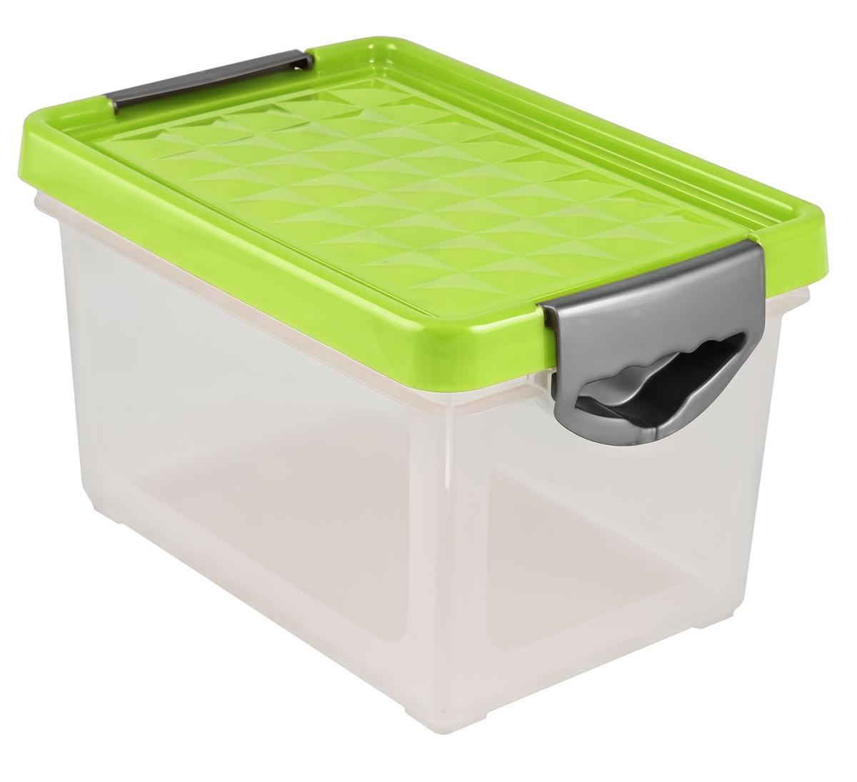 Ящик для хранения BranQ Systema, цвет: зеленый, прозрачный, 48 лBQ1003ЗЛПРУниверсальный ящик для хранения BranQ Systema, выполненный из прочного пластика, поможет правильно организовать пространство в доме и сэкономить место. В нем можно хранить все, что угодно: одежду, обувь, детские игрушки и многое другое. Прочный каркас ящика позволит хранить как легкие вещи, так и переносить собранный урожай овощей или фруктов. Изделие оснащено крышкой, которая защитит вещи от пыли, грязи и влаги.Эргономичные ручки-защелки, позволяют переносить ящик как с крышкой, так и без нее.