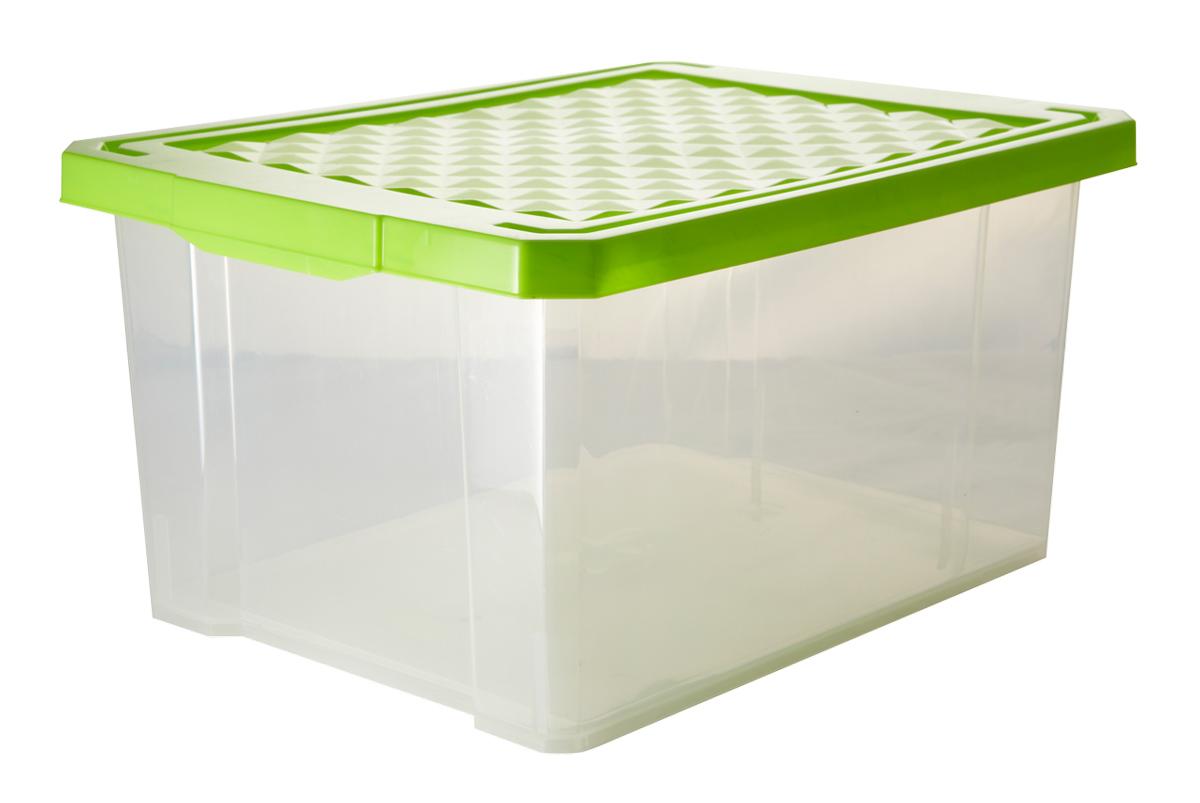 Ящик для хранения BranQ Optima, цвет: зеленый, прозрачный, 12 л