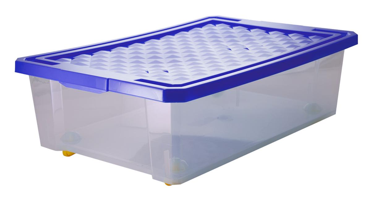 Ящик для хранения BranQ Optima, на колесиках, цвет: синий, прозрачный, 30 л