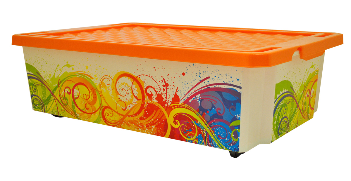 Ящик для хранения BranQ Optima. Брызги, на колесиках, 30 л