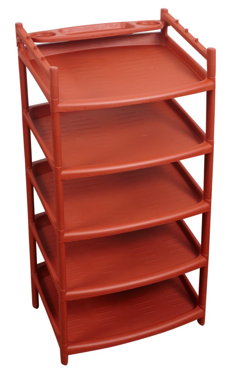 Этажерка для обуви BranQ, 5-ярусная, на колесиках, цвет: терракотовый, 50,5 х 41 х 99,5 см. BQ2810ТРBQ2810ТРЭтажерка BranQ с 5 полками выполнена из высококачественного пластика и предназначена для хранения обуви в прихожей. На каждой полке может поместиться по две пары обуви. Благодаря колесикам этажерку можно перемещать в любую сторону без особых усилий. Очень удобная и компактная, но в тоже время вместительная, этажерка прекрасно впишется в пространство вашей прихожей. Легко собирается и разбирается.