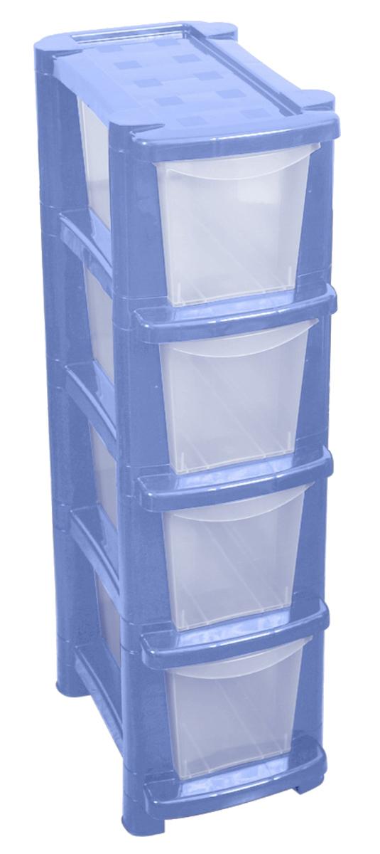 """Комод BranQ """"Deco"""" изготовлен из высококачественного пластика. Комод предназначен для хранения различных вещей и состоит из четырех вместительных выдвижных секций. Такой комод надежно защитит вещи от загрязнений, пыли и моли, а также позволит вам хранить их компактно и с удобством. Стильный дизайн комода дополнит интерьер комнаты."""