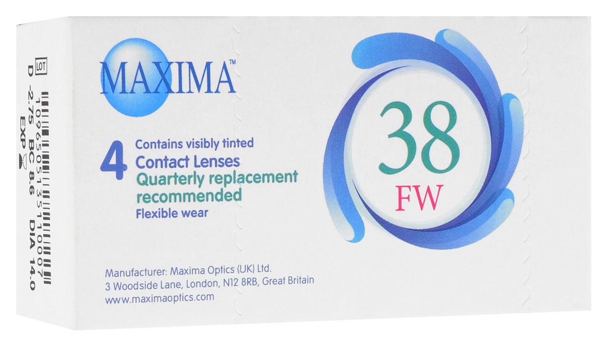 Maxima контактные линзы 38 FW (4 шт / 8.6 / -2.75)12102Линзы квартальной замены Maxima 38 FW обладают отличными клиническими характеристиками в сочетании с доступной ценой. Идеальны для перехода пациентов с традиционных линз к плановой замене. Ровный тонкий профиль края линзы Maxima 38 FW, незначительная толщина в центре обеспечивают комфорт ношения и улучшают кислородную проницаемость к роговице.Замена через 3 месяца. Характеристики:Материал: полимакон. Кривизна: 8.6. Оптическая сила: - 2.75. Содержание воды: 38%. Диаметр: 14 мм. Количество линз: 4 шт. Размер упаковки: 9,5 см х 5 см х 2 см. Производитель: США. Товар сертифицирован.Контактные линзы или очки: советы офтальмологов. Статья OZON Гид