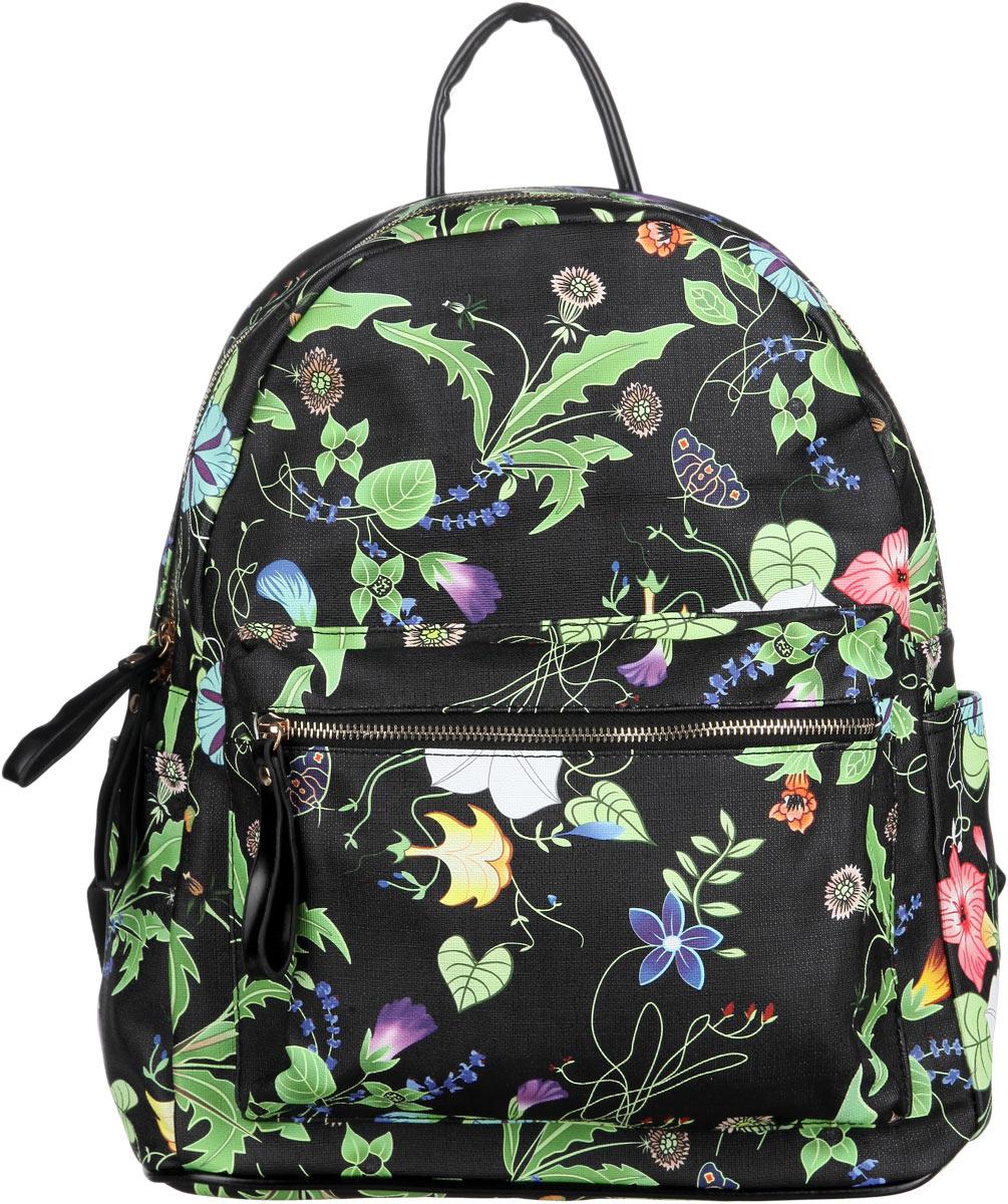 Рюкзак женский Orsa Oro, цвет: черный, зеленый. D-236/49