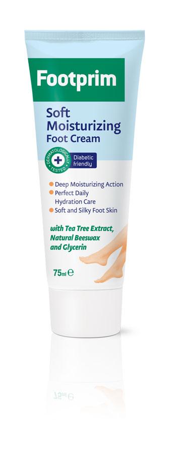 Footprim Крем для ног увлажняющий Soft Moisturizing Foot Cream, 75 мл302044Soft Moisturizing Foot Cream длительно увлажняет кожу ног. Экстракт чайного дерева обладает противогрибковым действием, а натуральный пчелиный воск смягчает и увлажняет кожу. Легкий и свежий, крем быстро впитывается, не оставляя жирных следов. Приятный ежедневный уход, который делает кожу нежной, мягкой и здоровой. Продукт тестирован дерматологически.Как ухаживать за ногтями: советы эксперта. Статья OZON Гид
