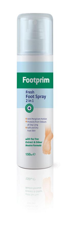 Footprim Дезодорант Антиперспирант для ног 2 в1 Fresh Foot Spray, 150 мл302020Fresh Foot Spray эффективно защищает ноги от чрезмерного потоотделения и неприятного запаха в течение всего дня. Специальная комбинация активных ингредиентов и экстракта чайного дерева помогают сохранить кожу сухой и предотвращают грибковые инфекции. Ноги остаются здоровыми и не потеют. Продукт тестирован дерматологически.