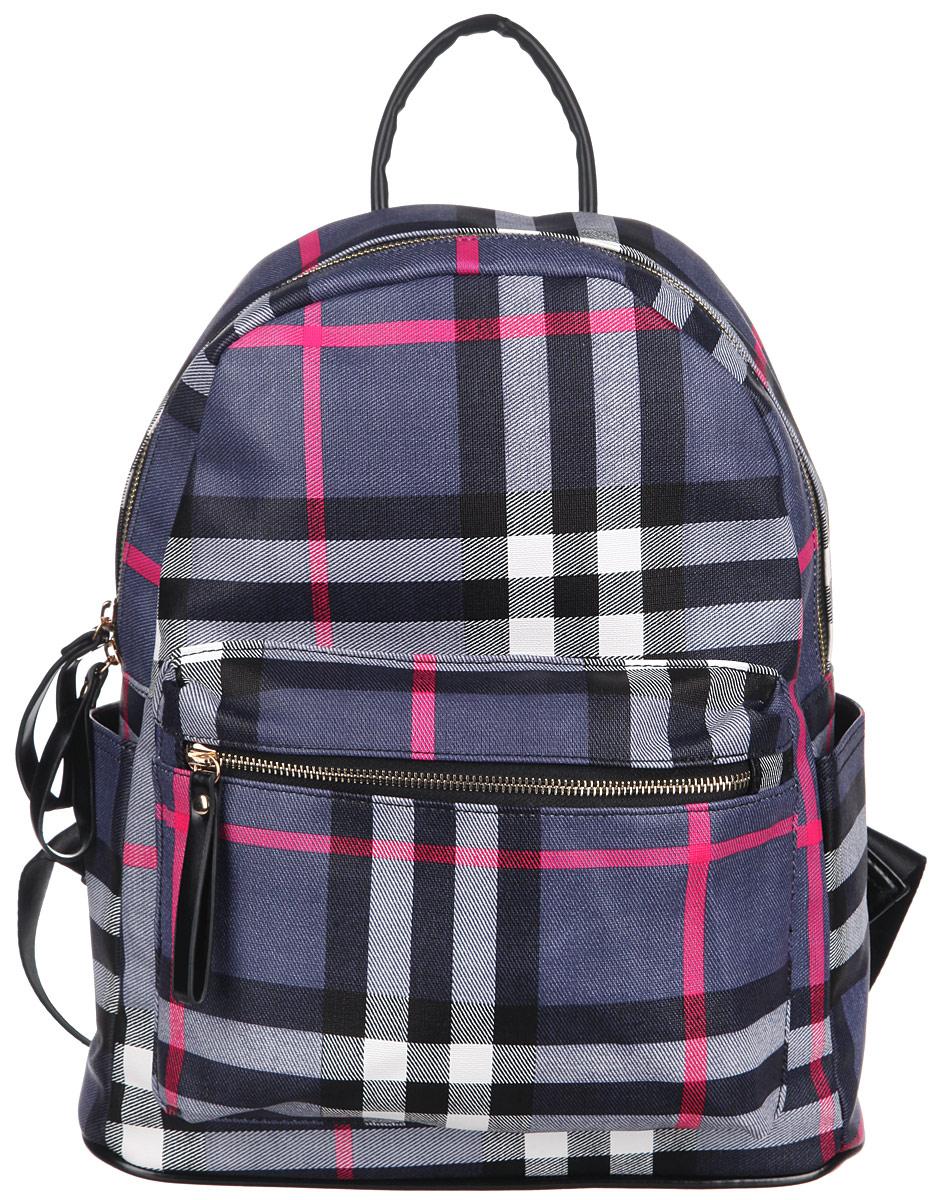 Рюкзак женский Orsa Oro, цвет: черный, синий, розовый. D-236/50D-236/50Стильный женский рюкзак Orsa Oro с оригинальным красочным принтом выполнен из экокожи. Рюкзак имеет одно основное отделение, которое закрывается на замок-молнию с двойным бегунком. Внутри два накладных кармана для телефона и мелких принадлежностей, а также врезной карман на молнии. Снаружи, на передней части рюкзака, размещен объемный накладной карман на молнии. По бокам расположены небольшие открытые накладные кармашки. Рюкзак оснащен петлей для подвешивания и двумя мягкими регулируемыми по длине лямками, с помощью которых его можно носить как на плече, так и на спине. Фурнитура - золотистого цвета. Стильный рюкзак станет финальным штрихом в создании вашего неповторимого образа.