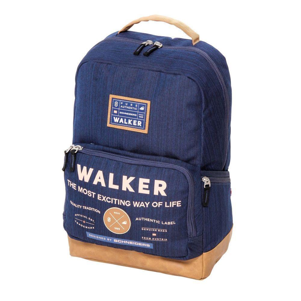 Walker Рюкзак Pure Authentic цвет синий42253/70Рюкзак Walker Pure Authentic - это современный многофункциональный молодежный рюкзак, который выполнен из прочного износостойкого материала высокого качества.Рюкзак имеет одно основное отделение, закрывающееся на молнию с двумя бегунками. Внутри отделения находятся два открытых сетчатых кармана, мягкий карман с хлястиком на липучке для различных гаджетов и пришивной карман на липучке. Рюкзак оснащен тремя боковыми карманами - два открытых кармана и один на застежке-молнии. На лицевой стороне рюкзака расположен накладной карман на молнии, внутри которого имеется органайзер для канцелярских принадлежностей и прорезной карман на молнии. Рюкзак оснащен удобной текстильной ручкой для переноски в руке. Мягкие широкие лямки анатомической формы позволяют легко и быстро отрегулировать рюкзак в соответствии с ростом. Изделие дополнено светоотражающими элементами.Этот рюкзак разработан специально для людей стильных и модных, любящих быть в центре внимания.