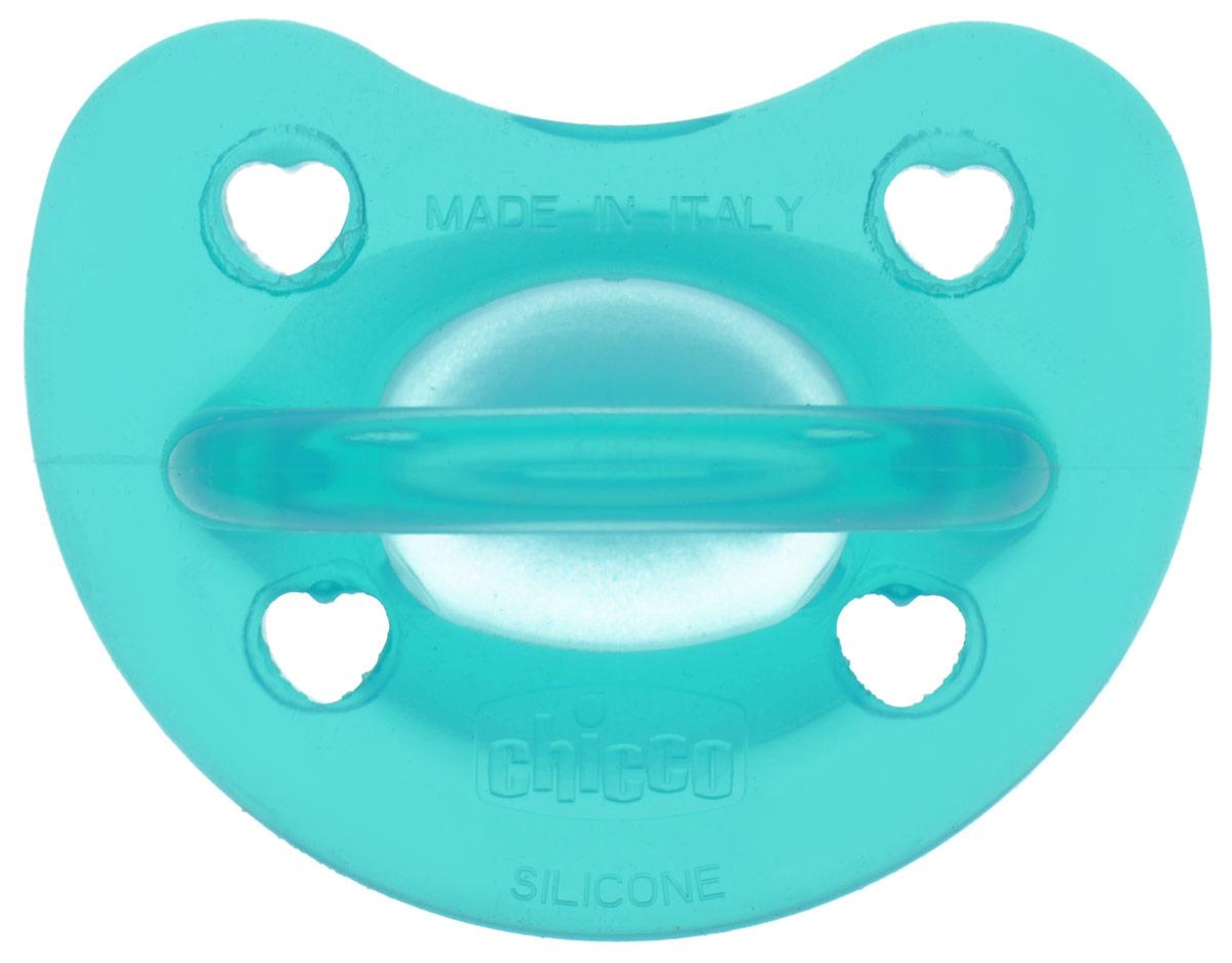 Chicco Пустышка силиконовая ортодонтическая Physio Soft от 6 до 12  месяцев цвет бирюзовый chicco силиконовая пустышка physio soft 12мес chicco прозрачн