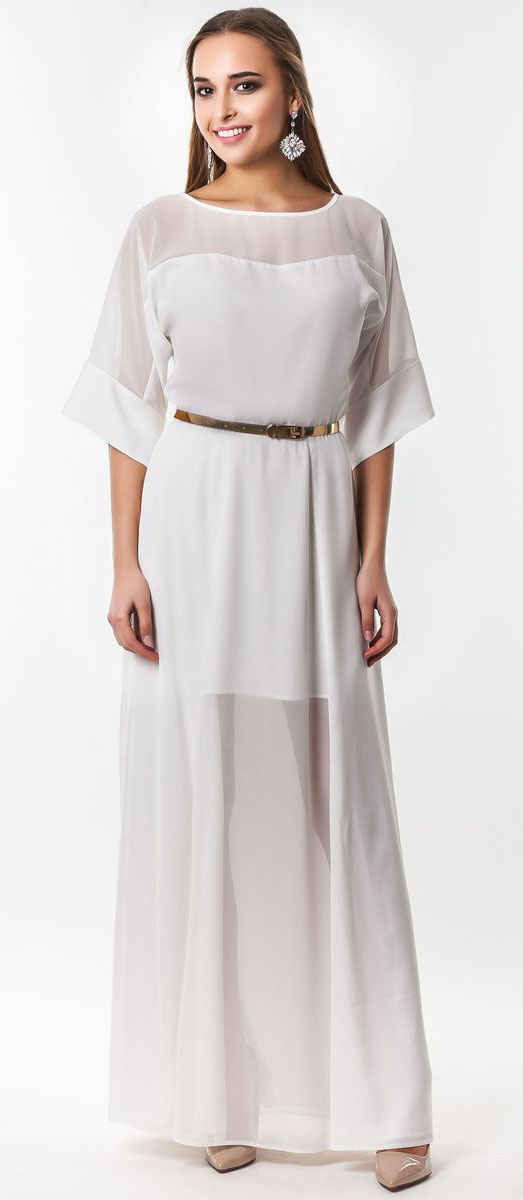 Платье Seam, цвет: белый. 4530_102. Размер S (44)4530_102Очаровательное вечернее платье Seam, выполненное из высококачественного полиэстера, оно отлично сидит по фигуре и подчеркнет ваши достоинства. Платье-макси с цельнокроеными рукавами 1/2 и круглым вырезом горловины не имеет застежек. Верх и перед модели дополнены вставками из прозрачной ткани. В поясе модель дополнена эластичной резинкой и декоративным контрастным ремешком.