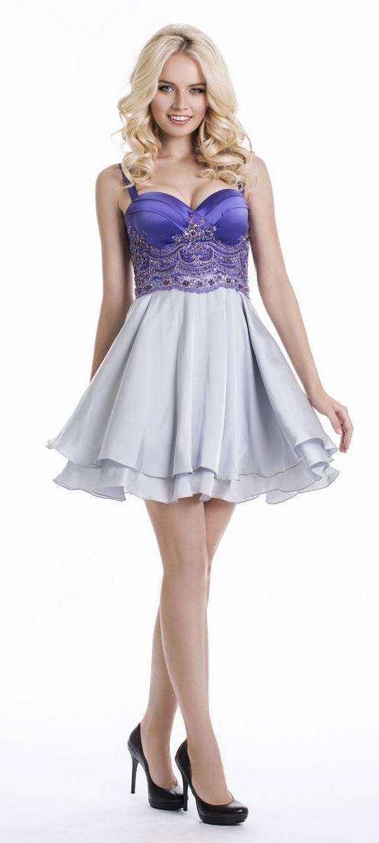 Платье Seam, цвет: фиолетовый, серый. GERBERA. Размер L (48)GERBERAЭлегантное платье Seam выполнено из высококачественного эластичного полиэстера. Модель на бретелях, которые легко регулируются по длине, выполнена с твердым лифом, что выгодно подчеркнет все достоинства вашей фигуры. Платье-миди завязывается сзади на шнуровку. Лиф украшен сетчатой тканью с очаровательной вышивкой из люрекса, пайеток и бисера. Низ модели красиво драпируется и выполнен из двух слоев ткани. Изысканное платье создаст обворожительный и неповторимый образ.