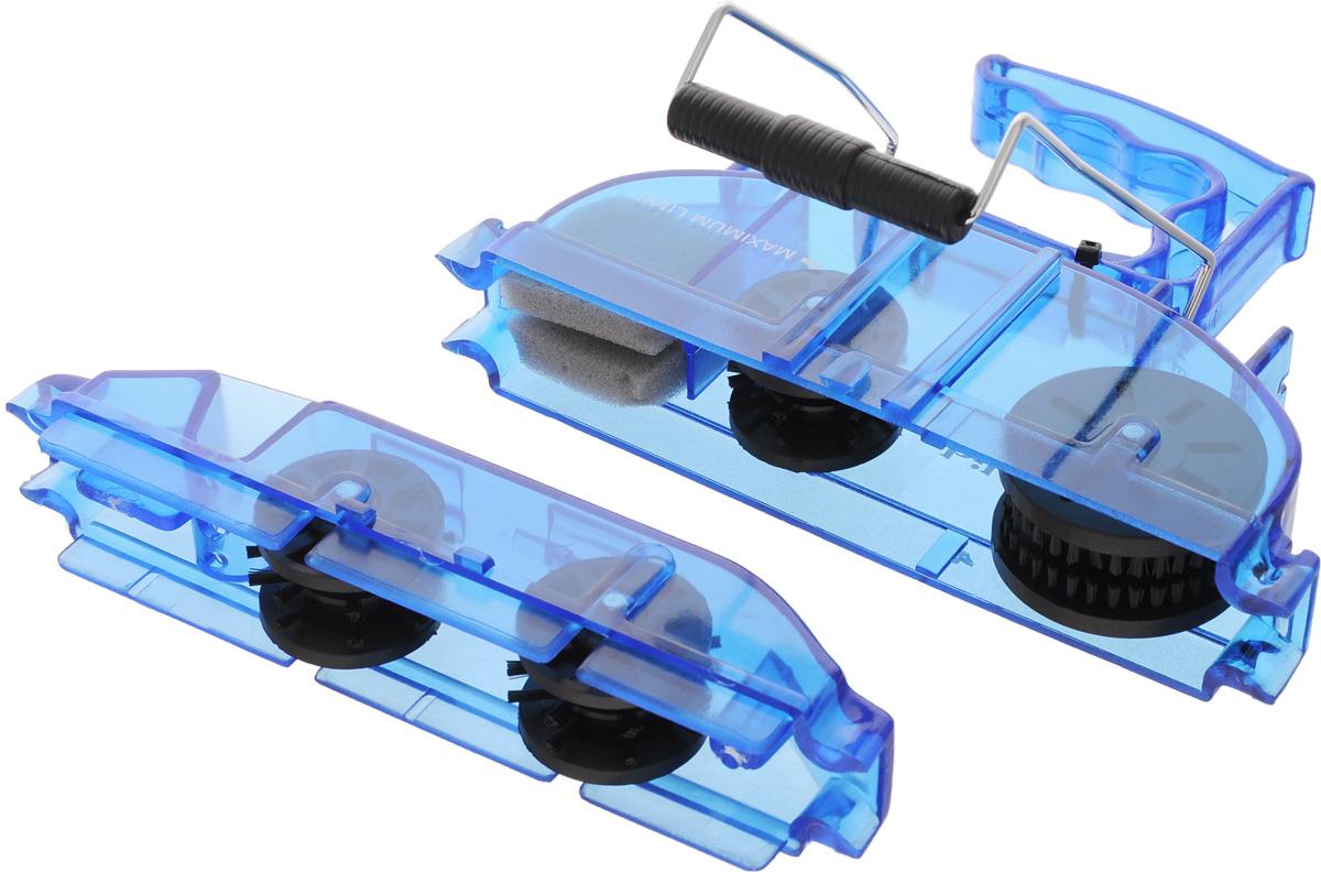"""Машинка """"Bike Attitude"""", выполненная из пластика и металла, предназначена для чистки велосипедной цепи. Изделие оснащено 4 роликами с щетками и губкой, удаляющими грязь и старую смазку с цепи.  Гид по велоаксессуарам. Статья OZON Гид"""