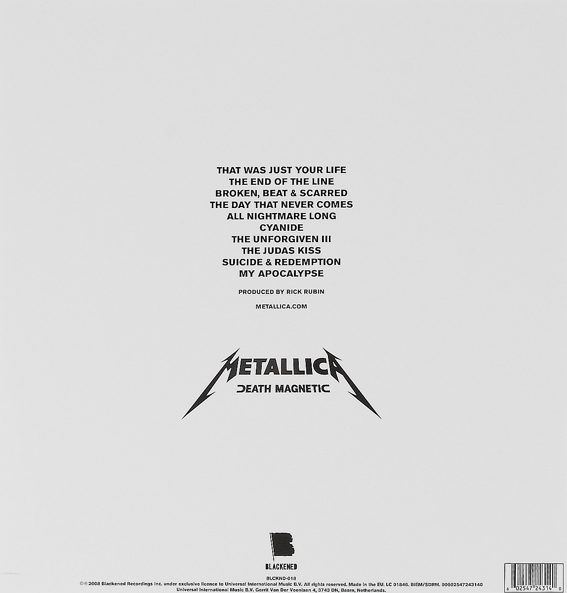 Metallica.  Death Magnetic (LP) Blackened Recordings INC