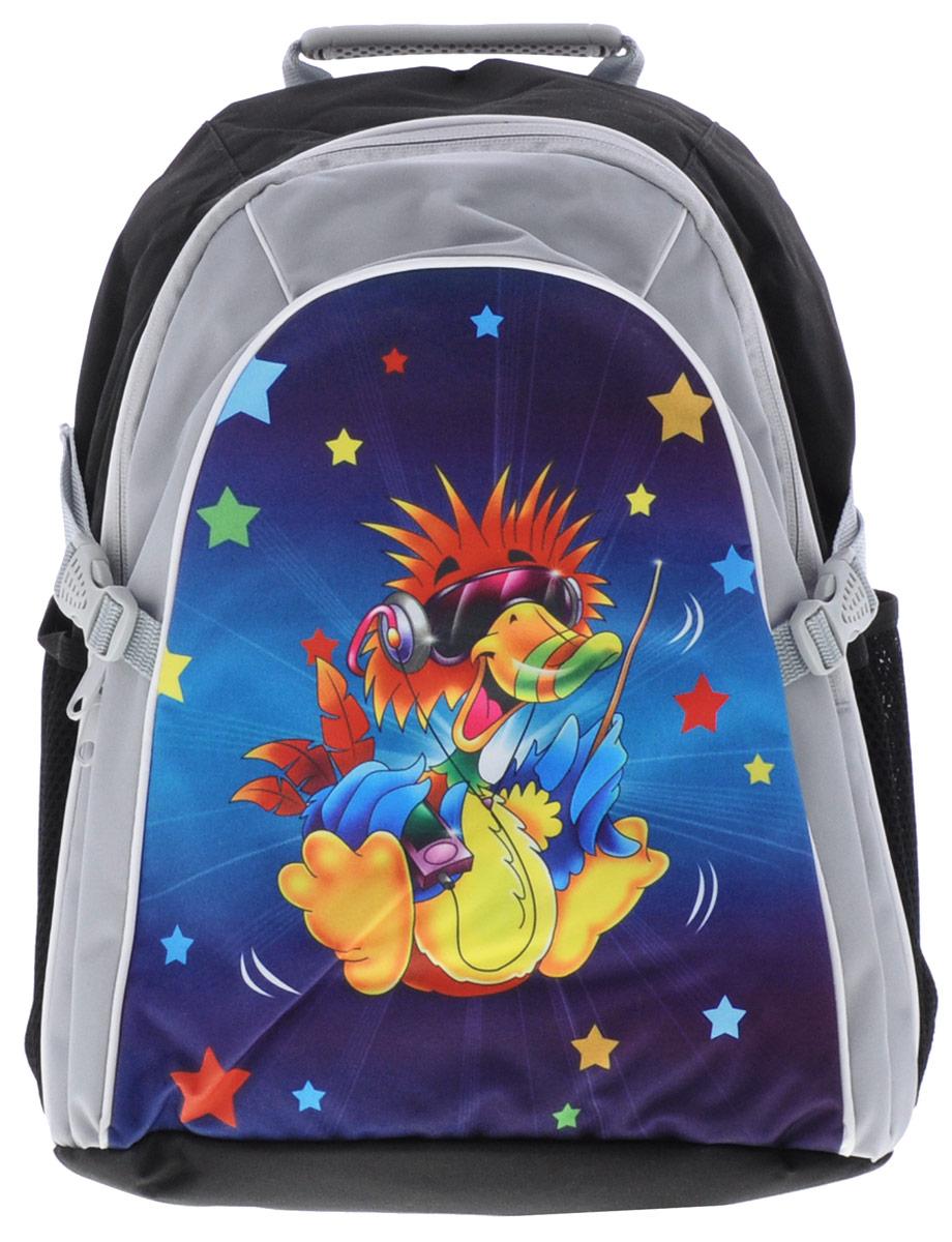 Tiger Enterprise Рюкзак детский Joyful Birdie цвет черный серый2919/TG_черный, серый, уткаСтильный школьный рюкзак Joyful Birdie небольшого размера подойдет всем, кто хочет разнообразить свои школьные будни.Содержит вместительное отделение, закрывающееся на застежку-молнию с двумя бегунками. Внутри отделения находится перегородка для тетрадей или учебников. Дно рюкзака можно сделать жестким, разложив специальную панель с пластиковой вставкой, что повышает сохранность содержимого рюкзака. По бокам расположены два сетчатых кармана. Специально разработанная архитектура спинки со стабилизирующими набивными элементами повторяет естественный изгиб позвоночника. Набивные элементы обеспечивают вентиляцию спины ребенка. Плечевые лямки анатомической формы равномерно распределяют нагрузку на плечевую и воротниковую зоны. Конструкция пряжки лямок позволяет отрегулировать рюкзак по фигуре. Рюкзак оснащен эргономичной ручкой для удобной переноски в руке, а также имеется увеличитель объема. Светоотражающие элементы обеспечивают безопасность в темное время суток.Многофункциональный школьный рюкзак станет незаменимым спутником вашего ребенка в походах за знаниями.