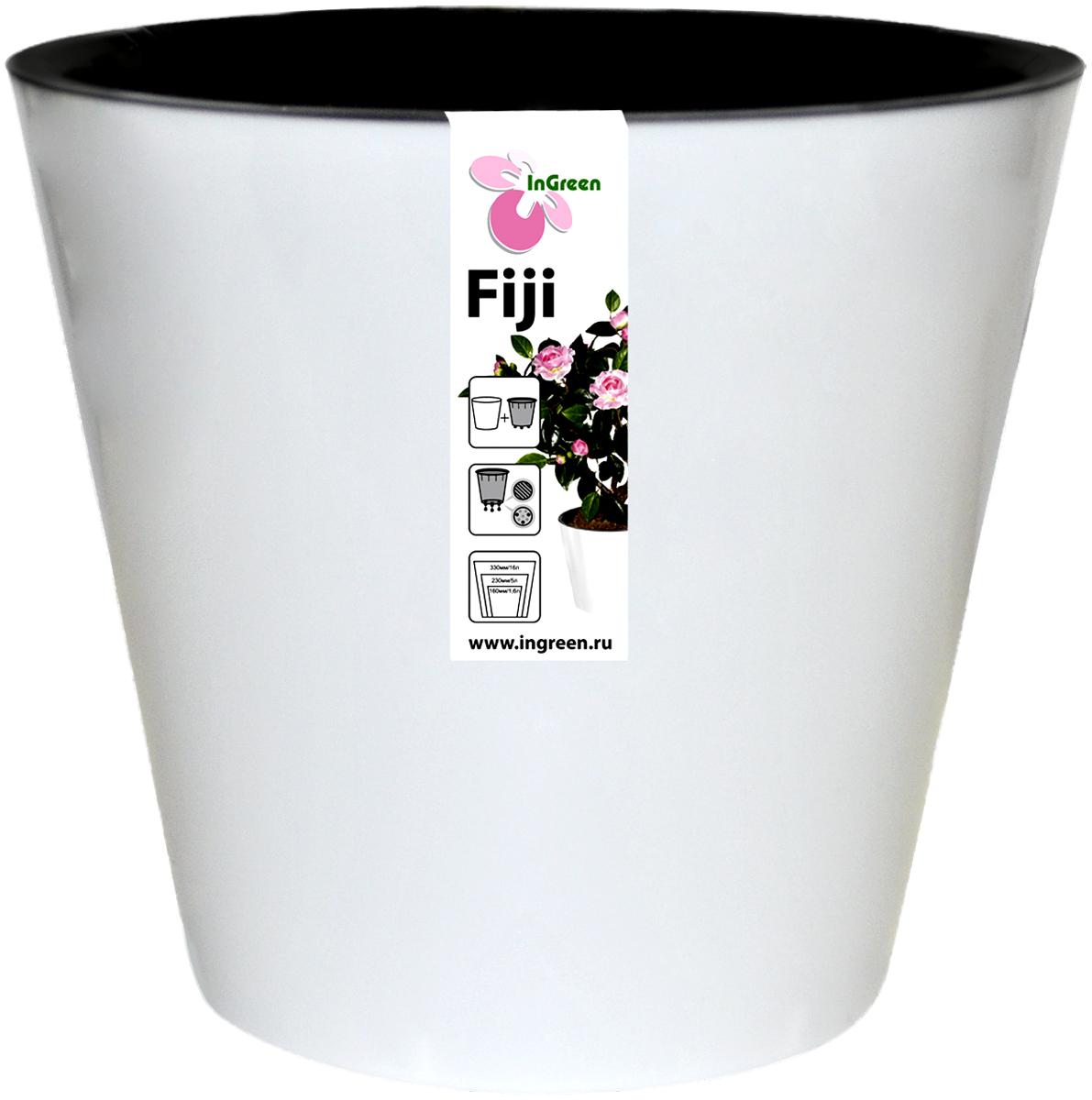 Горшок для цветов InGreen Фиджи, с ситемой атополива, цвет: белый, диаметр 16 смING1553БЛГоршок InGreen Фиджи, выполненный из высококачественного пластика, предназначен для выращивания комнатных цветов, растений и трав. Специальная конструкция обеспечивает вентиляцию в корневой системе растения, а дренажные отверстия позволяют выходить лишней влаге из почвы. Изделие состоит из цветного кашпо и внутреннего горшка. Растение высаживается во внутренний горшок и вставляется в кашпо. Инновационная система автополива обладает рядом преимуществ: экономит время при уходе за растением, вода не протекает при поливе и нет необходимости в подставке, корни не застаиваются в воде.Такой горшок порадует вас современным дизайном и функциональностью, а также оригинально украсит интерьер любого помещения. Объем: 1,6 л. Диаметр (по верхнему краю): 16 см.Высота: 14,5 см.