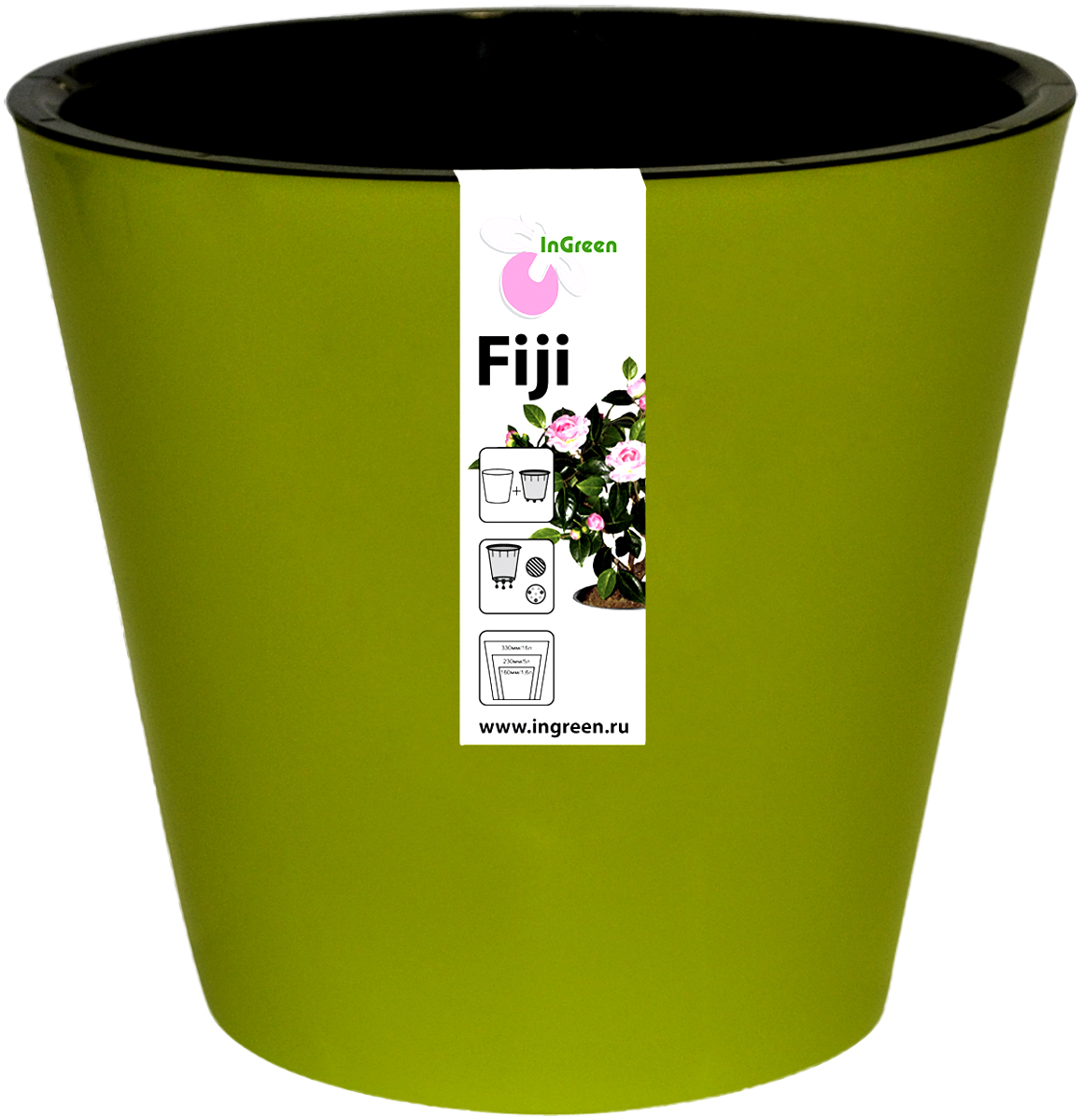 Горшок для цветов InGreen Фиджи, с системой автополива, цвет: зелено-желтый, диаметр 23 смING1555СЛГоршок InGreen Фиджи, выполненный из высококачественного пластика, предназначен для выращивания комнатных цветов, растений и трав. Специальная конструкция обеспечивает вентиляцию в корневой системе растения, а дренажные отверстия позволяют выходить лишней влаге из почвы. Изделие состоит из цветного кашпо и внутреннего горшка. Растение высаживается во внутренний горшок и вставляется в кашпо. Инновационная система автополива обладает рядом преимуществ: экономит время при уходе за растением, вода не протекает при поливе и нет необходимости в подставке, корни не застаиваются в воде.Такой горшок порадует вас современным дизайном и функциональностью, а также оригинально украсит интерьер любого помещения. Объем горшка: 5 л. Диаметр горшка (по верхнему краю): 23 см.Высота горшка: 20,8 см.