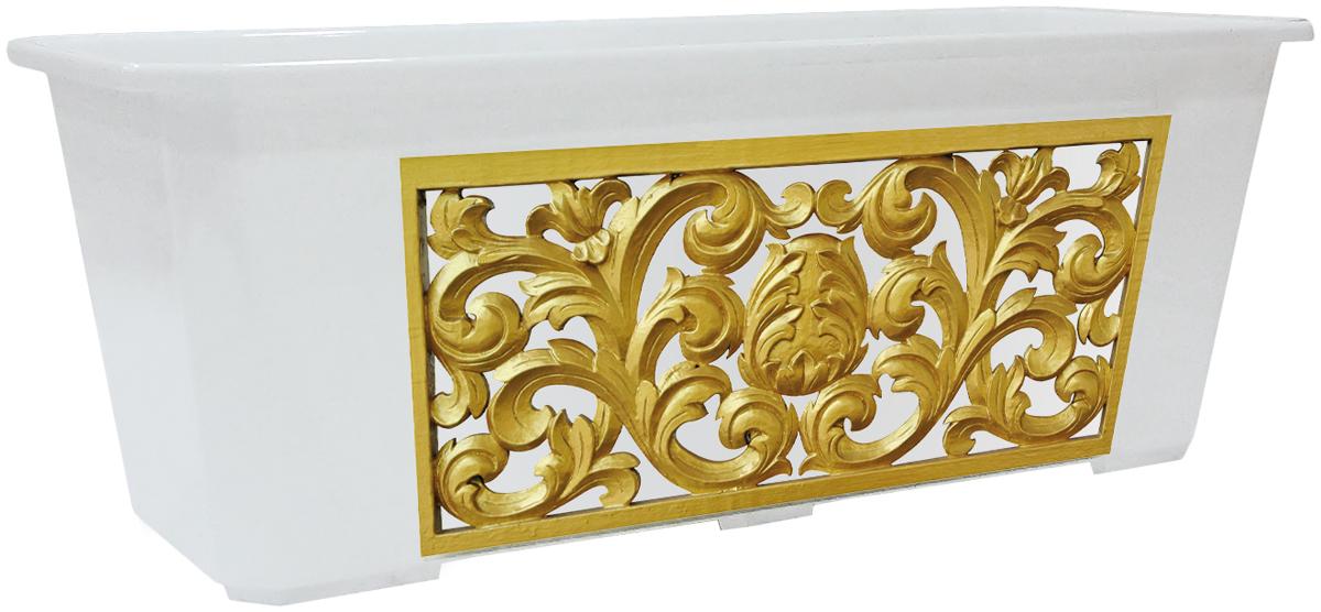 "Ящик балконный ""InGreen"", цвет: белый, золотистый, 40 х 17 х 15 см. ING1809БР"