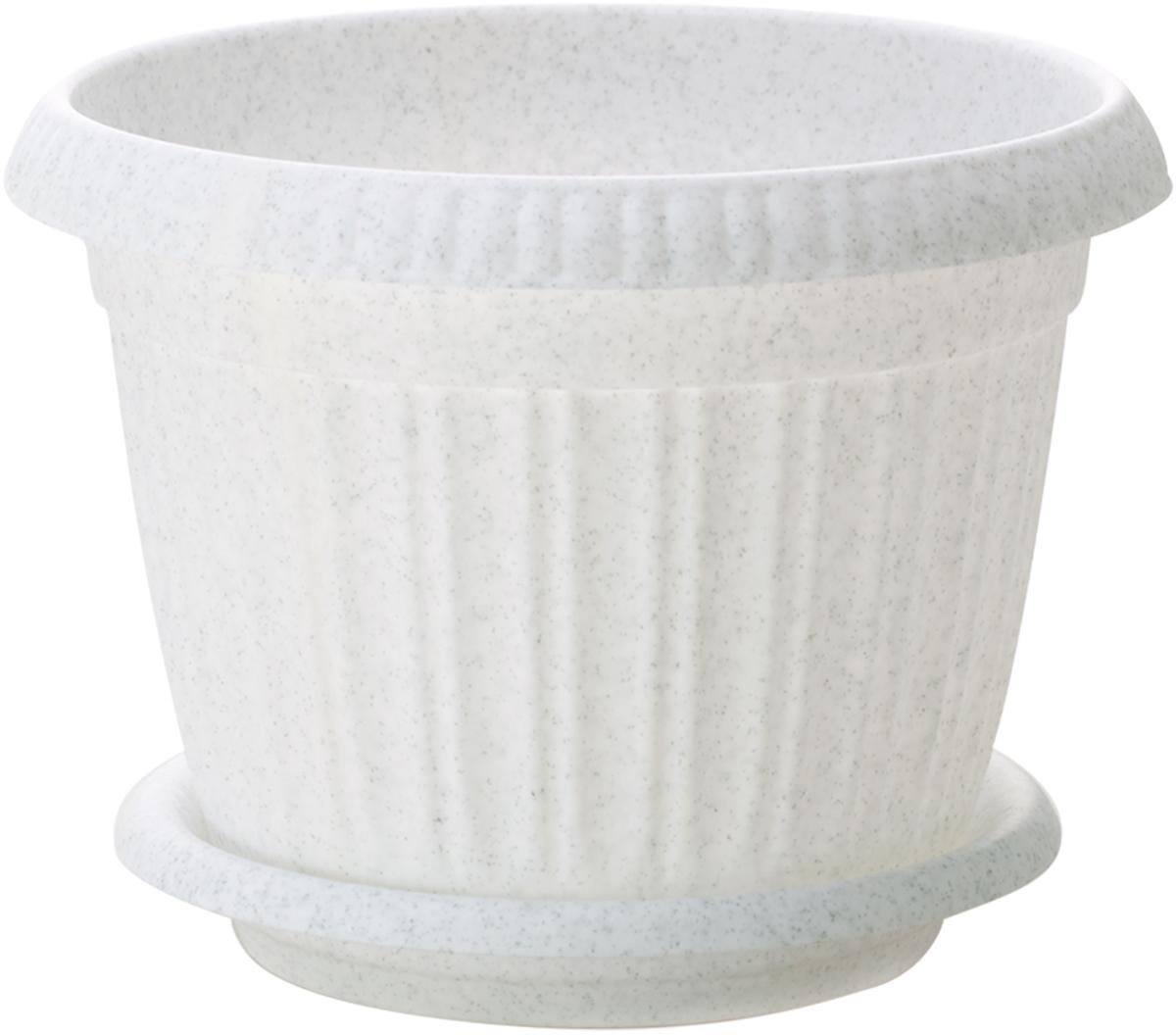 """Горшок для цветов InGreen """"Таити"""", с подставкой, цвет: мраморный, диаметр 28 см"""
