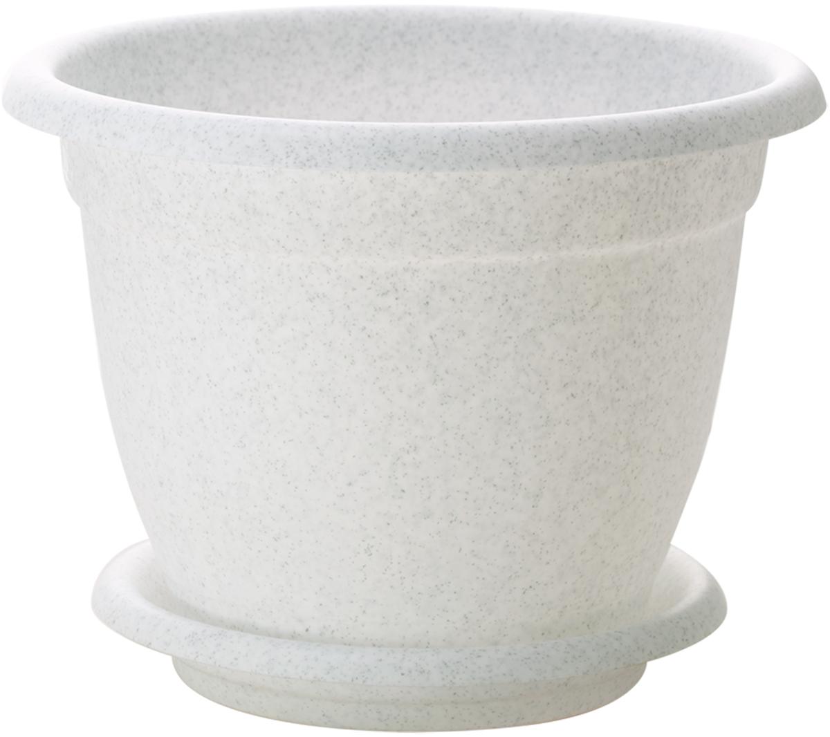 """Горшок для цветов InGreen """"Борнео"""", с поддоном, цвет: мраморный, диаметр 19 см"""