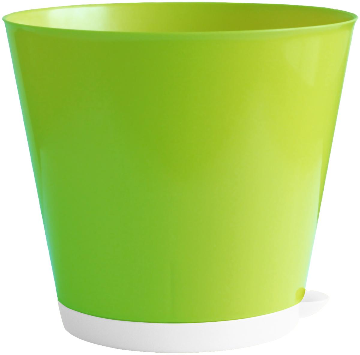 Горшок для цветов InGreen Крит, с системой прикорневого полива, цвет: салатовый, белый, диаметр 12 смING46012СЛ-16РSГоршок InGreen Крит, выполненный из высококачественного пластика, предназначен для выращивания комнатных цветов, растений и трав. Специальная конструкция обеспечивает вентиляцию в корневой системе растения, а дренажные отверстия позволяют выходить лишней влаге из почвы. Крепежные отверстия и штыри прочно крепят подставку к горшку. Прикорневой полив растения осуществляется через удобный носик. Система прикорневого полива позволяет оставлять комнатное растение без внимания тем, кто часто находится в командировках или собирается в отпуск и не имеет возможности вовремя поливать цветы.Такой горшок порадует вас современным дизайном и функциональностью, а также оригинально украсит интерьер любого помещения. Диаметр горшка (по верхнему краю): 12 см.Высота горшка: 11,2 см.