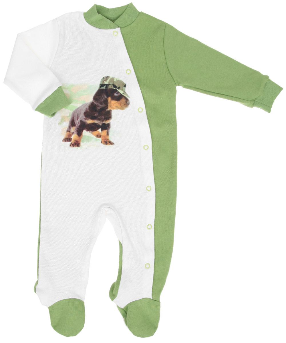 Комбинезон для мальчика КотМарКот, цвет: белый, зеленый. 6265. Размер 80, 9-12 месяцев6265Удобный комбинезон КотМарКот идеально подойдет вашему малышу, обеспечивая ему максимальный комфорт. Изготовленный из натурального хлопка, он очень мягкий на ощупь, не раздражает даже самую нежную и чувствительную кожу ребенка, хорошо пропускает воздух.Комбинезон с небольшим воротником-стойкой, длинными рукавами и закрытыми ножками имеет застежки-кнопки от горловины до ступни, которые помогают легко переодеть младенца или сменить подгузник. Воротник выполнен из трикотажной резинки. Низ рукавов дополнен мягкими эластичными манжетами, не пережимающими ручки крохи. Изделие украшено изображением забавной собачки.Современный дизайн и яркая модная расцветка делают этот комбинезон незаменимым предметом детского гардероба. В таком комбинезоне спинка и ножки вашего крохи всегда будут в тепле.