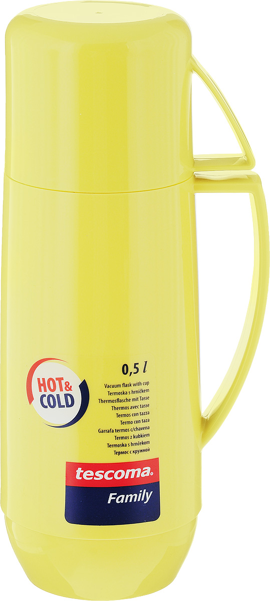 Термос Tescoma Family, с кружкой, цвет: желтый, 500 мл. 31056421648_розовыйТермос Tescoma Family предназначен для хранения теплых и холодных напитков. Термос изготовлен из прочного пластика и снабжен стеклянной изоляционной колбой. Термос имеет удобную ручку и завинчивающуюся крышку, которая может выполнять функцию кружки с ручкой.Высота (с кружкой): 25 см.Диаметр горлышка: 5,5 см.