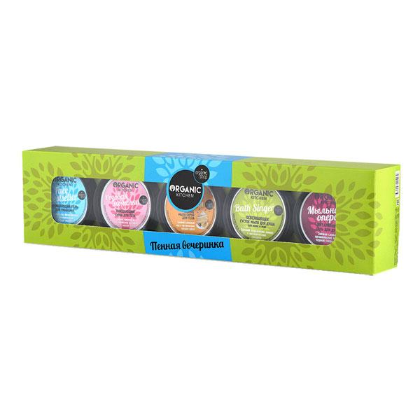 Organic Shop Подарочный набор Пенная вечеринка (Густое мыло для душа для волос и тела, 100 мл + Скраб для тела, 100 мл + Гель для душа, 100 мл + Гель для умывания, 100 мл + Мыло-скраб для тела, 100 мл)