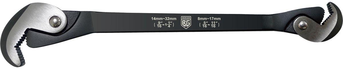 Ключ многофункциональный быстрозажимной Berger, 30 смBG-0832QWУниверсальный многофункциональный ключ Berger предназначен для работы с резьбовыми соединениями. Выполнен из высококачественной кованной стали. Подходит для крепежа размером от 8 до 32 мм.Длина инструмента: 30 см.