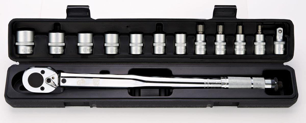Набор инструментов Berger, 13 предметов. BG-13STWBG-13STWНабор инструментов Berger состоит из динамометрического ключа, семи торцевых 6-гранных головок SuperLock, четырех бит-головок и удлинителя. Набор применяется при необходимости затяжки резьбовых соединений с выставленным крутящим моментом. Инструменты выполнен из прочной стали. Набор упакован в пластиковый кейс.В набор входят:- динамометрический ключ 1/2;- головки торцевые 6-гранные SuperLock с хвостовиком 1/2: 16, 17, 19, 21, 22, 24, 27 мм;- биты-головки: H6, H8, H10, H12;- удлинитель 1/2.
