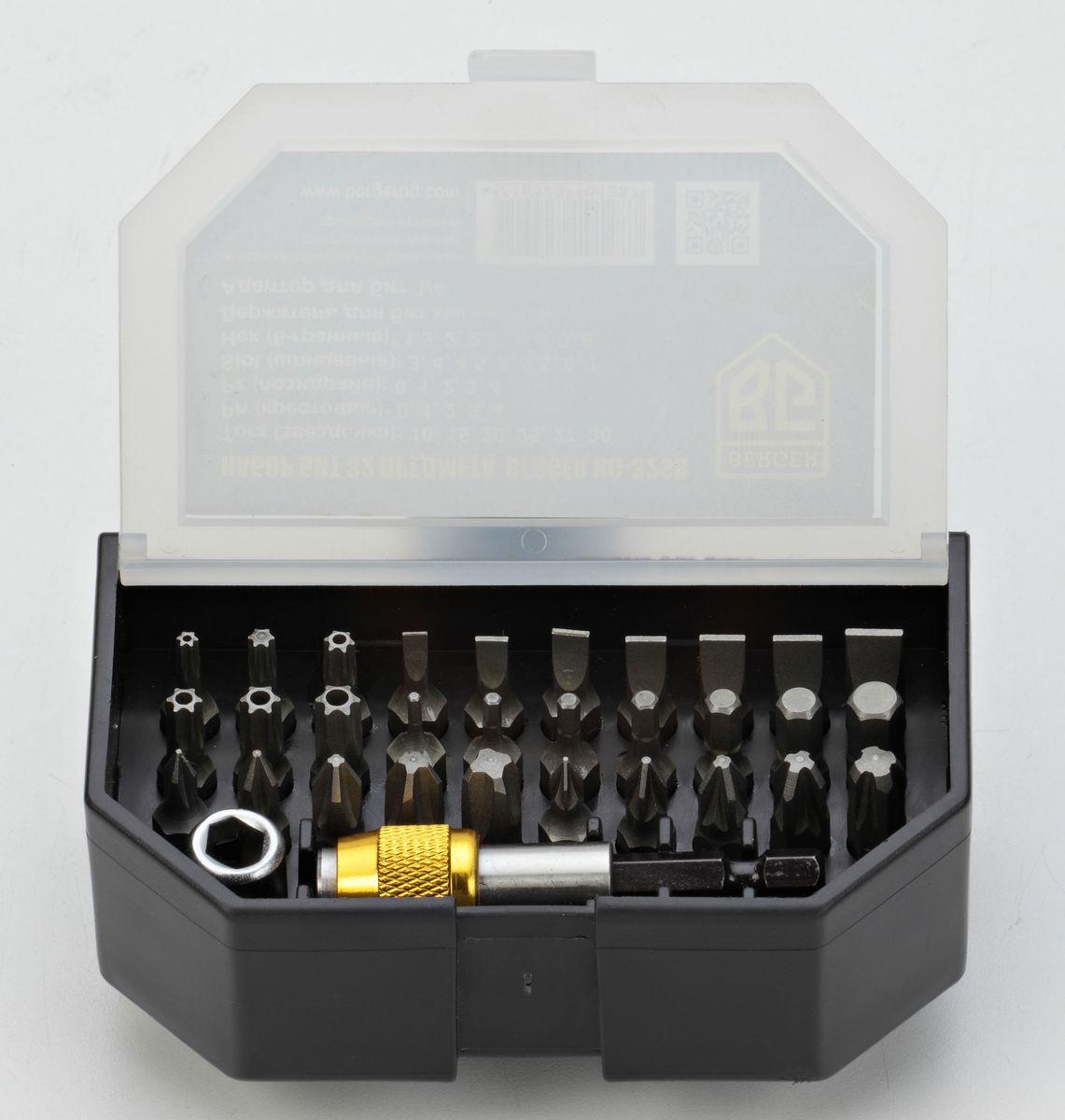Набор бит Berger, 32 предмета. BG-32SBBG-32SBНабор бит Berger - это многофункциональный комплект, который состоит из односторонних бит с различными шлицами для монтажа и демонтажа резьбовыхсоединений. Биты изготовлены из стали S2, адаптер и держатель выполнены из хромованадиевой стали.В комплекте:- Torx (звездочка): T10, T15, T20, T25, T27, T30 - 6 шт;- Ph (крест): 0, 1, 2, 3, 4 - 5шт;- Pz (позидрайв): 0, 1, 2, 3, 4 - 5 шт;- Hex (шестигранник): 1.5, 2, 2.5, 3, 4, 5, 6 - 7 шт;- Slot (шлиц): 3, 4, 4.5, 5, 5.5, 6, 7 - 7 шт;- Держатель для бит магнитный;- Адаптер для бит 1/4.