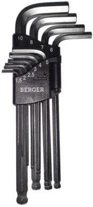 Набор шестигранников Г-образных Berger с шаровым профилем, 10 предметов. BG-10SHWBG-10SНWНабор шестигранных ключей Berger сочетает в себе прочные и надежные инструменты Г-образной формы с плоскими и шарообразными наконечниками. С помощью ключей такого типа легко производить затяжку и отвинчивание крепежных элементов с внутренним шестигранником даже в местах с ограниченным доступом. Изогнутая конструкция обеспечивает высокий крутящий момент, что повышает производительность.В комплекте 10 шестигранников: H1.5, H2, H2.5, H3, H4, H5, H6, H7, H8, H10.
