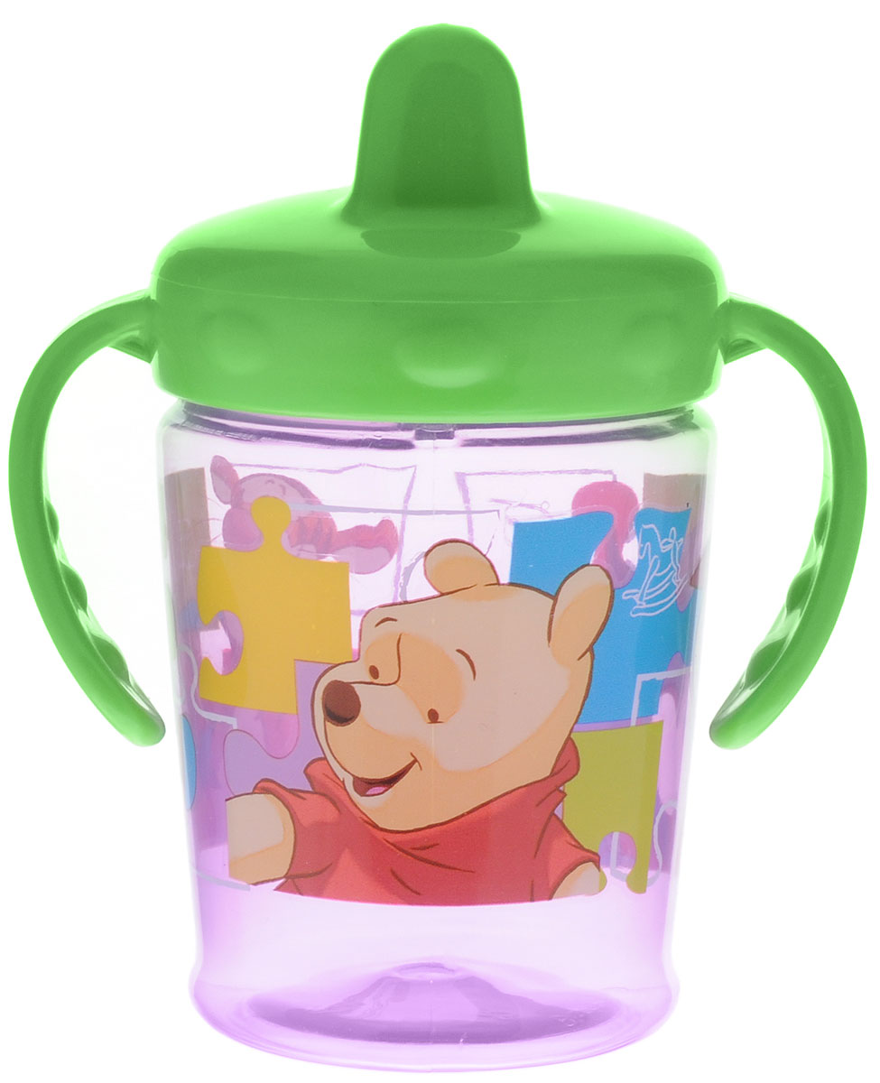 Lubby Поильник-непроливайка Медвежонок Винни от 6 месяцев цвет фиолетовый зеленый 210 мл