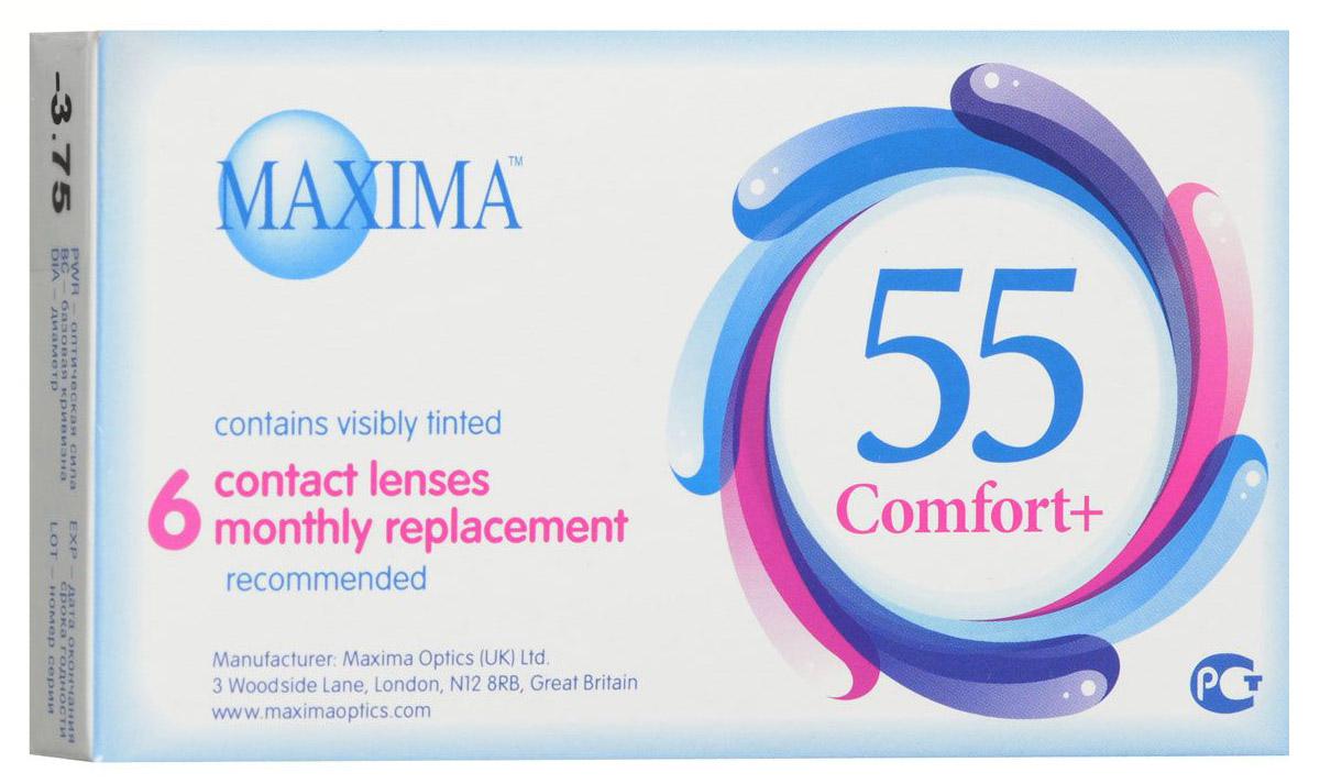 Maxima контактные линзы 55 Comfort Plus (6шт / 8.6 / -3.75)30957Контактные линзы Maxima 55 Comfort Plus - это линзы ежемесячной замены, имеющие асферический дизайн и изготовленные из биосовместимого материала. Эти контактные линзы разработаны специально для людей имеющих небольшую степень астигматизма, а также желающих ощущать чувство полного комфорта в течение целого дня. Асферическая поверхность контактной линзы помогает формировать более контрастное и четкое изображение. В Maxima 55 Comfort Plus все лучи, в том числе и проходящие через периферию, собираются вместе, тем самым минимизируя оптические искажения. Другим достоинством этих линз является материал из которого они изготовлены. Контактные линзы Maxima 55 Comfort Plus обладают низким уровнем образования отложений, превосходно удерживают воду и отлично пропускают кислород к роговице глаза. Все это стало возможно благодаря совершенно новому биосовместимому материалу, благодаря ему ношение контактных линз стало еще более удобным и комфортным. Замена через 1 месяц. Характеристики:Материал: хайоксифилкон А. Кривизна: 8.6. Оптическая сила: - 3.75. Содержание воды: 57%. Диаметр: 14,2 мм. Количество линз: 6 шт. Размер упаковки: 11 см х 1,5 см х 6,5 см. Производитель: Великобритания. Товар сертифицирован.Контактные линзы или очки: советы офтальмологов. Статья OZON Гид