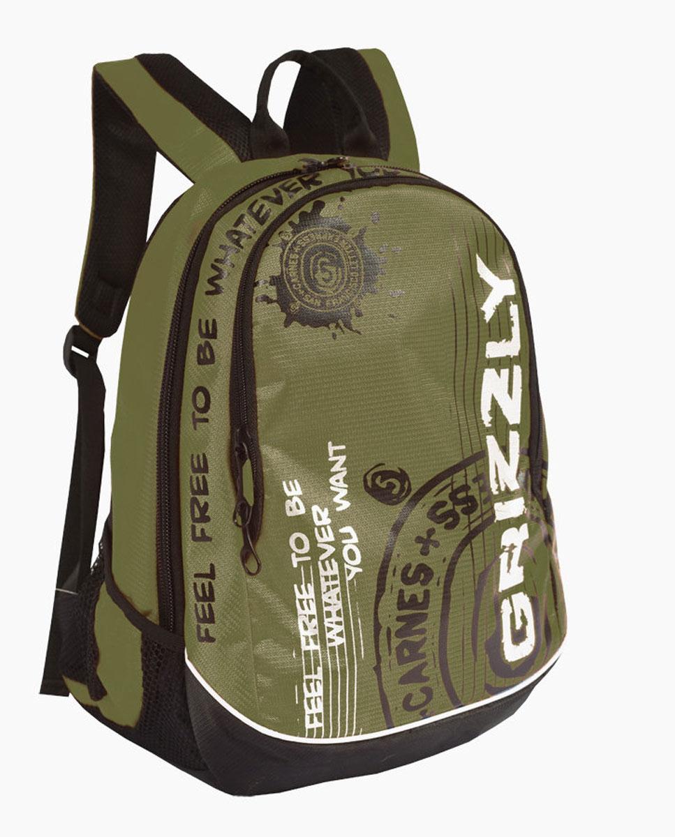 Рюкзак городской мужской Grizzly, цвет: хаки, черный, 18 л. RU-601-3/4RU-601-3/4Рюкзак городской Grizzl выполнен из высококачественного полиэстера и оформлен оригинальным фирменным принтом. Рюкзак имеет петлю для подвешивания и две удобные лямки, длина которых регулируется с помощью пряжек. Изделие имеет два основных отделения, которые дополнены внутренним карманом-пенал и подвесным карманом на молнии. Рюкзак оснащен двумя боковыми карманами из сетки. Внешняя сторона дополнена анатомической укрепленной спинкой.