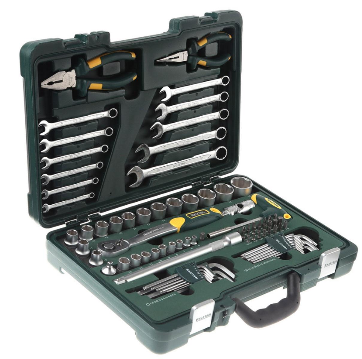 Набор слесарно-монтажных инструментов Kraftool Industry, 84 предмета27977-H84Набор слесарно-монтажных инструментов Kraftool Industry состоит из разнообразных инструментов, необходимых при выполнении профессиональных слесарных и монтажных работ, а также домашнего ремонта. Этот профессиональный набор разработан в соответствии с самыми высокими требованиями и предназначен для индустриального применения. Выдерживает интенсивные нагрузки, имеет большой ресурс и обеспечивает превосходное качество выполнения работ. Инструменты в наборе изготовлены из высококачественной закаленной хромованадиевой стали. Хромированное покрытие защищает от коррозии и увеличивает срок службы. Набор снабжен профилем SUPER-LOCK для переноса пятен контактов с углов граней крепежа к их центру. Инструменты имеют очень удобные рукоятки, благодаря чему обеспечивается комфортная работа. Инструменты размещены в двух отделениях кейса, створки которого складываются и закрываются специальными защелками. Набор слесарного инструмента включает: - торцовые головки FLANK 1/4 9 шт - 5, 6, 7, 8, 9, 10, 11, 12, 13 мм; - битодержатель с Т-образной ручкой; - адаптер - H1/4 x SQ1/4;- биты 1/4 25 мм 24 шт - PH1, 2, 3; - PZ2, 3; SL4.5, 6.5, 8; H2, 2.5, 3, 4, 5, 7, 8; T10, 15, 20, 25, 27, 30, 35, 40; - торцовые головки SUPER-LOCK 1/2 14 шт - 10, 11, 12, 13, 14, 15, 16, 17, 19, 21, 22, 24, 27, 30 мм; - шарнир карданный 1/2;- удлинитель для торцовых головок 1/2 - 250 мм; - адаптер - 1/4M х SQ1/2F; - трещотка, 72 зубца 1/2;- тонкогубцы, 150 мм; - плоскогубцы комбинированные, 180 мм; - имбусовые ключи 9 шт - 1.5, 2, 2.5, 3, 4, 5, 6, 8, 10 мм; - имбусовые ключи 9 шт - 10, 15, 20, 25, 27, 30, 40, 45, 50 мм; - комбинированные ключи 11 шт - 6, 7, 8, 9, 10, 11, 12, 13, 14, 17, 19 мм.
