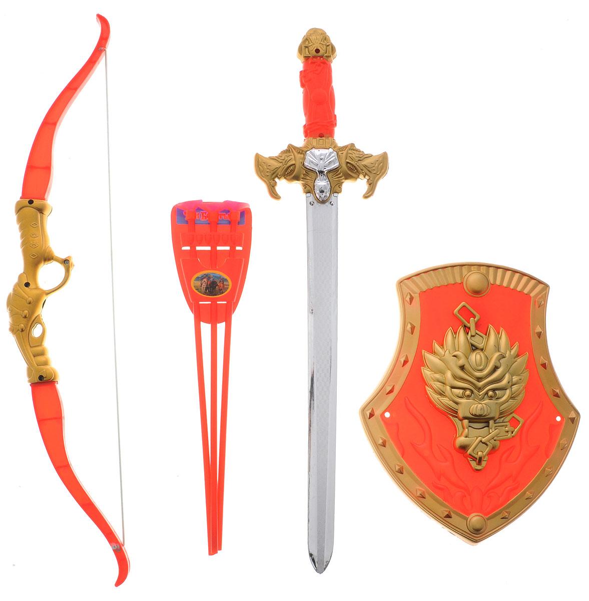 Играем вместе Набор оружия Три богатыря красный золотистый 7 предметов три богатыря щит цвет зеленый желтый