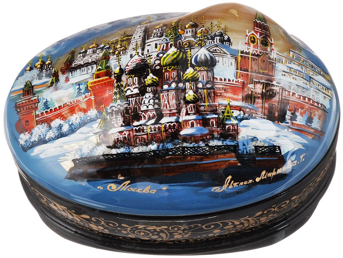 Шкатулка-ракушка Москва-панорама, 10 х 7 см. Ручная авторская работа