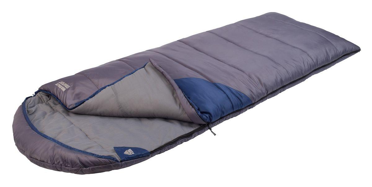 Спальный мешок TREK PLANET Warmer Comfort, цвет: темно-серый, синий, правосторонняя молния70390-LСамый теплый, просторный и очень комфортный 4-х сезонный спальник-одеяло с капюшоном TREK PLANET Warmer Comfort. Его отличительная особенность - натуральная внутренняя ткань поликоттон: прекрасно дышит и дает приятные ощущения во время сна. Спальник прекрасно подойдет для походов и отдыха на природе в холодные при низких зимних температурах. Большой и уютный капюшон обеспечивает повышенный комфорт и тепло в холодную погоду. К несомненным достоинствам спальника можно отнести размер: спальник подходит даже для очень крупных туристов. Утеплен двумя слоями супер техничного 7-канального волокна Hollow Fiber. Самый удобный, комфортный и теплый спальник-одеяло для кемпинга! ОСОБЕННОСТИ СПАЛЬНИКА: - Теплый капюшон с затягивающейся шнуровкой по периметру, - Увеличенная ширина спальника, - 7-канальный наполнитель Hollow Fiber, - Внешний материал: 190T полиэстер/полиэстер RipStop, - Внутренний материал - мягкий поликоттон, - Дополнительная плечевая затягивающаяся шнуровка, - Молния имеет два замка с обеих сторон, - Отдельная молния внизу спальника, - Термоклапан вдоль молнии, - Возможно состегивание спальников между собой- К спальнику прилагается компрессионный чехол из прочного полиэстера OXFORD для удобного хранения и переноски с клипсами для легкого открывания чехла.t° комфорт: -8°C t° лимит комфорта: -18°C t° экстрим: -26°C. Внешний материал: 100% полиэстер/полиэстер RipStop Внутренний материал: 100% поликоттон Утеплитель: Hollow Fiber 7Н 2 x 230 г/м2. Размер спальника: (200+40) х 90 см.Что взять с собой в поход?. Статья OZON Гид