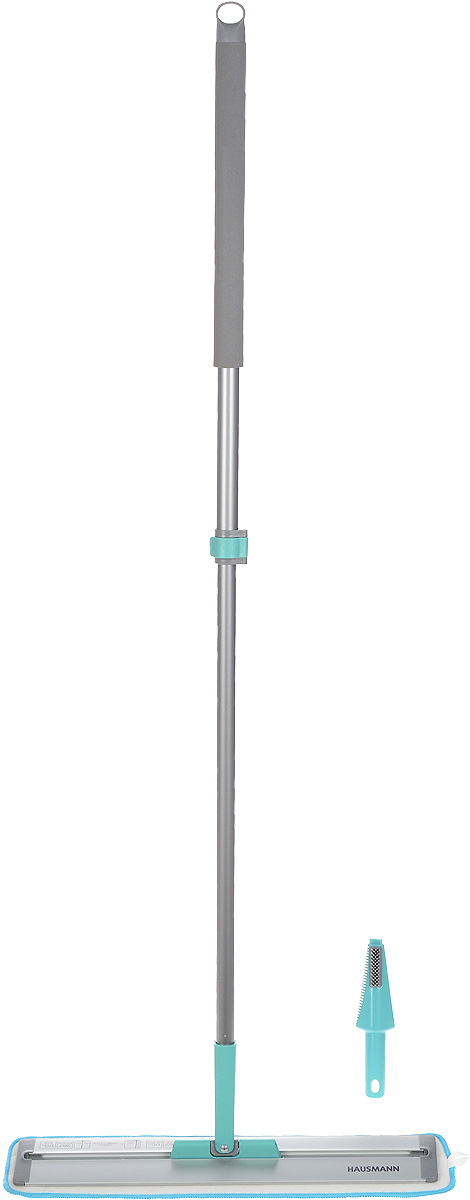 Швабра Hausmann Cosmic Home, с телескопической ручкой, длина 85-135 смHM-45Швабра Hausmann Cosmic Home, выполненная из металла и пластика, предназначена для сухой и влажной уборки в доме. Изделие оснащено удобной телескопической ручкой. На конце ручки имеется специальная петля, благодаря которой швабру можно подвесить в любом удобном месте. Особенностью данной швабры является слайд-механизм основания, который удлиняет платформу, позволяя очистить пространства под стоящими на полу предметами, кроватями, тумбочками.Сменная насадка выполнена из микрофибры, которая впитывает воду и грязь подобно губке. Мягкая поверхность насадки глубоко очищает и не оставляет разводов и царапин на полу. Длина ручки: 85-135 см.Размер насадки: 54 х 12,5 см.